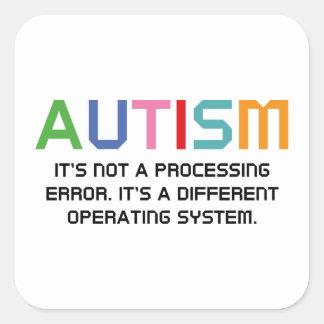 Sistema operativo del autismo pegatina cuadrada