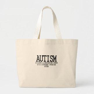 "Sistema operativo "".png del autismo bolsa tela grande"