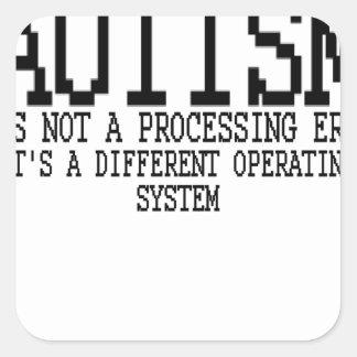 "Sistema operativo "".png del autismo pegatina cuadrada"