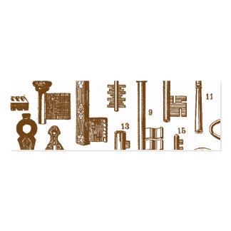 Sistema pasado de moda antiguo de la llave del vin tarjetas de visita mini
