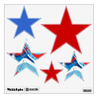 Sistema patriótico de la estrella de 5 etiquetas vinilo adhesivo
