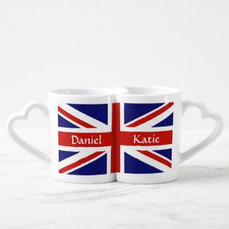 Sistema personalizado bandera británica de la taza taza para enamorados