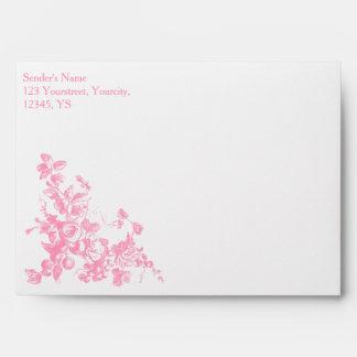 Sistema personalizado floral rosado del boda del sobre