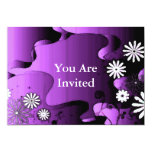 Sistema púrpura del jardín del Grunge Invitación 12,7 X 17,8 Cm