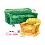 Sistema retro de Davenport de la silla del sofá de Postales