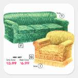 Sistema retro de Davenport de la silla del sofá Calcomania Cuadradas