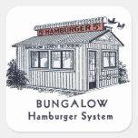Sistema retro de la hamburguesa de la casa de plan calcomania cuadradas