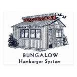 Sistema retro de la hamburguesa de la casa de plan postales