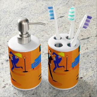 Sistema retro del baño del cóctel del dibujo vasos para cepillos de dientes