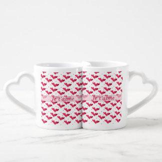Sistema rojo de la taza de los amantes de los tazas para parejas