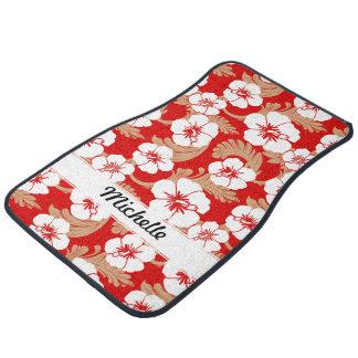 Sistema rojo floral del personalizado del hibisco  alfombrilla de auto