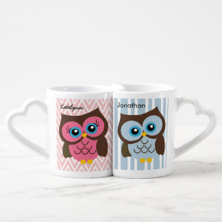 Sistema rosado y azul personalizado de la taza de taza amorosa