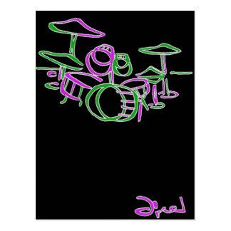 Sistema rosado y verde de neón del tambor postales