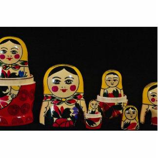 Sistema ruso de la muñeca, pintura de madera rusa  fotoescultura vertical
