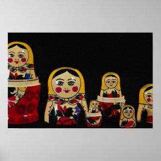 Sistema ruso de la muñeca, pintura de madera rusa  posters