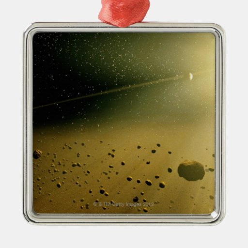Sistema Solar 2 Adorno Navideño Cuadrado De Metal