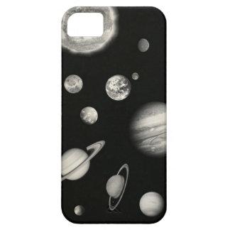 Sistema Solar blanco y negro en el espacio iPhone 5 Carcasas