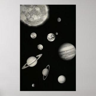 Sistema Solar blanco y negro en el espacio Póster
