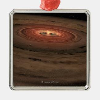 Sistema Solar del concepto del artista mini en la Adorno Cuadrado Plateado