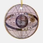 Sistema Solar Ptolemaic antigua, Andreas Cellarius Adorno Navideño Redondo De Cerámica