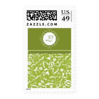 Sistema verde floral del boda del monograma timbre postal