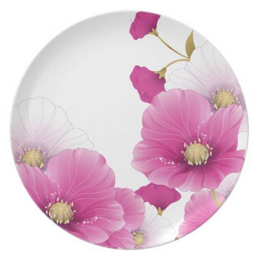 SISTEMAS blancos de la DECORACIÓN de las flores fl Plato