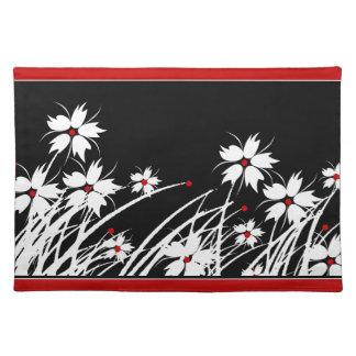 SISTEMAS blancos negros rojos florales de 1 DECORA Mantel Individual
