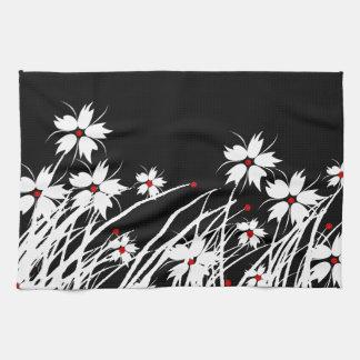 SISTEMAS blancos negros rojos florales de la Toalla De Mano