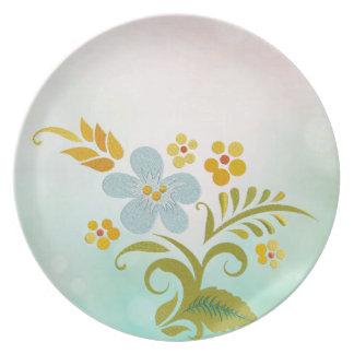 SISTEMAS florales azulverdes de la DECORACIÓN de l Plato De Cena