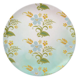 SISTEMAS florales azulverdes de la DECORACIÓN de l Plato Para Fiesta