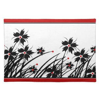 SISTEMAS negros rojos florales de 1 de Placemats D Manteles