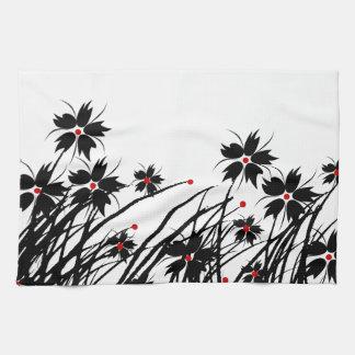 SISTEMAS negros rojos florales de la DECORACIÓN de Toalla De Mano
