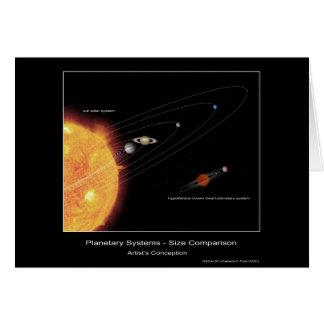 Sistemas planetarios - comparación del tamaño - la tarjeta de felicitación