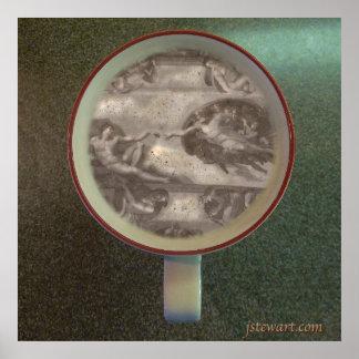 Sistene Coffee Foam in a Starbucks Cup Poster