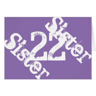 Sister, 22nd birthday, white on purple card
