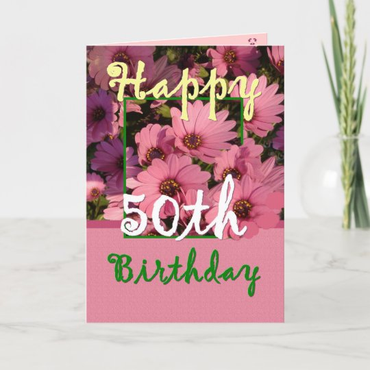 50th Birthday For Sister Purple Text On White Card Zazzle