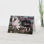 "Sister 70th Birthday with magnolia Card<br><div class=""desc"">A beautiful pink magnolia growing on a tree in springtime. A beautiful card that will be sure to please your sister on her 70th birthday.</div>"