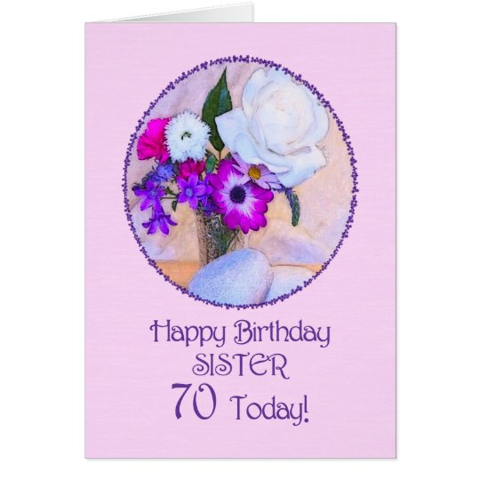 Sister 70th birthday with painted flowers card zazzle sister 70th birthday with painted flowers card bookmarktalkfo Image collections