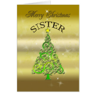 Sister, a gold effect Christmas card