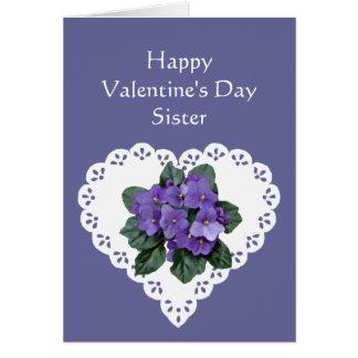 Sister African Violet Flower Valentine Poem Card