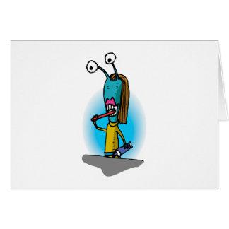 Sister Alien Brushing Teeth Card