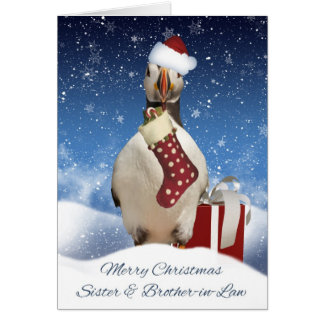 Sister And Brother-in-Law Puffin Christmas Greetin Greeting Card