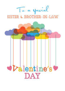 Sister and Brother-in-Law Valentine Rainbow Clouds Holiday Card