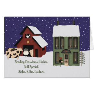 Sister And Her Partner Prim Farm Christmas Card