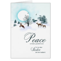 Sister and husband, Christmas with reindeer Card