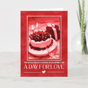 Sister and Husband Valentine's Day Cake Holiday Card