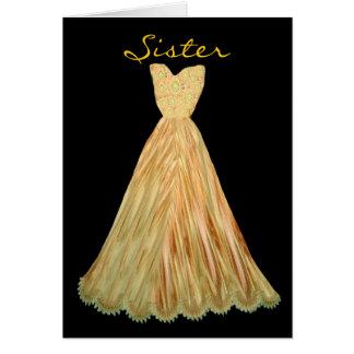 SISTER Be My  Bridesmaid AUTUMN GOLD Dress Greeting Card