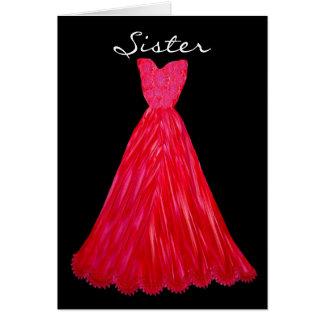 SISTER Be My  Bridesmaid RED Dress Greeting Card