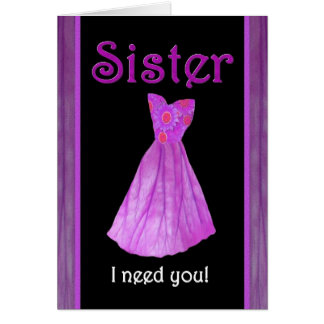 SISTER - Be My Maid of Honor - PURPLE Dress Card