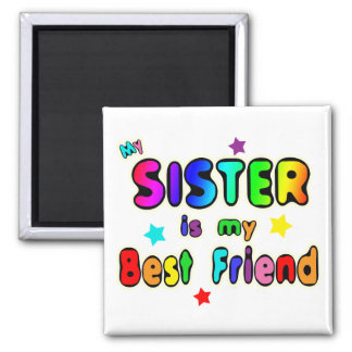 Sister Best Friend 2 Inch Square Magnet